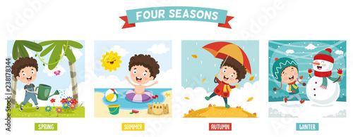 Valokuvatapetti Vector Illustration Of Kid And Four Seasons
