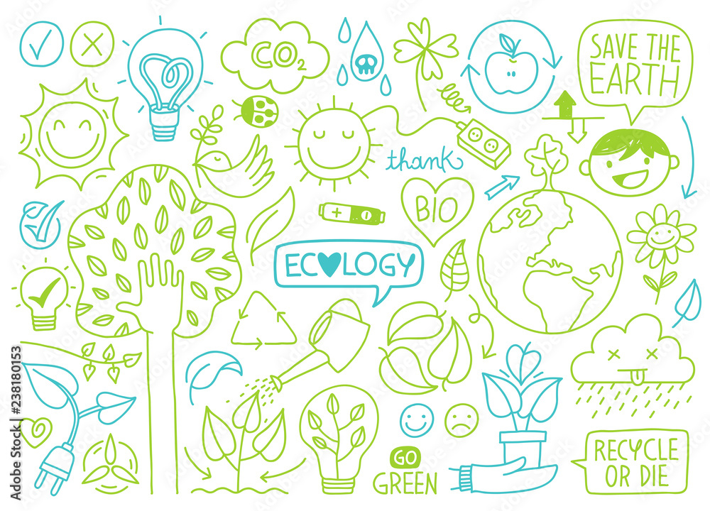 Fototapeta ecology sketches and hand drawn icons