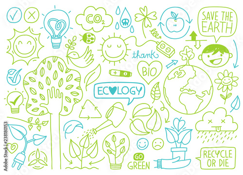 Fotografie, Obraz ecology sketches and hand drawn icons