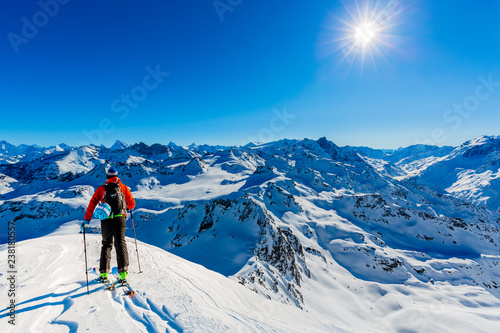 Garden Poster Winter sports Ski with amazing view of swiss famous mountains in beautiful winter snow Mt Fort. The skituring, backcountry skiing in fresh powder snow.