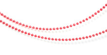 Red Christmas Beads Garland Isolated With Shadow.
