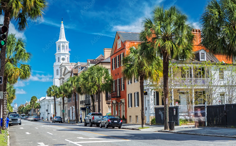 Fototapety, obrazy: St. Michaels Church and Broad St. in Charleston, SC