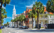 canvas print picture - St. Michaels Church and Broad St. in Charleston, SC