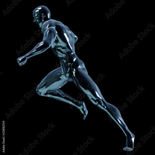 Garden Poster Martial arts 3d rendered illustration of a glass man