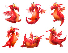 Set Of Red Dragons Isolated On...
