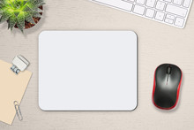 Mouse Pad Mockup. White Mat On The Table With Props, Mouse And Keyboard