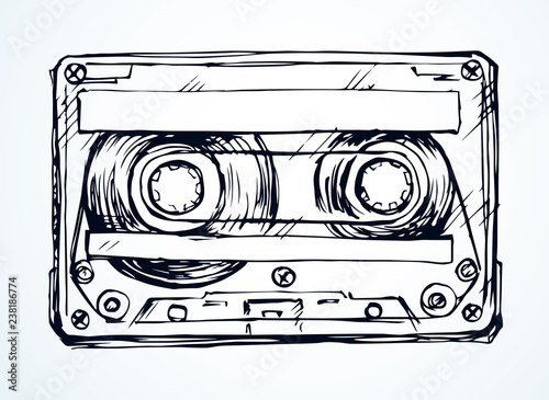 Cassette. Vector drawing Fototapet