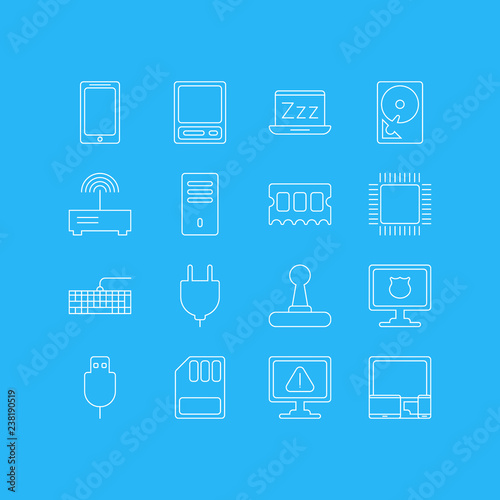 Vector illustration of 16 notebook icons line style
