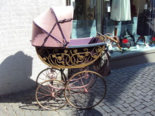 An Old Baby Carriage As A Decoration In Konstanz (Federal Republic Of Germany)