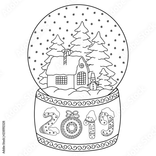 Toy glass snow globe with house. Lettering number 2019. Coloring ...