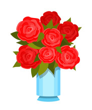 Vase With Beautiful Bouquet Of Festive Red Roses With Leaves.
