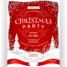 Poster For Christmas Party. Holiday Event Template Design With Customized Text.