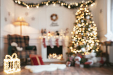 Empty Defocused Christmas Room With Copy Space