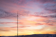 Telecommunication Mast Television Antennas Before Sunset