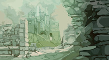 Painted Medieval Stone Ruins I...