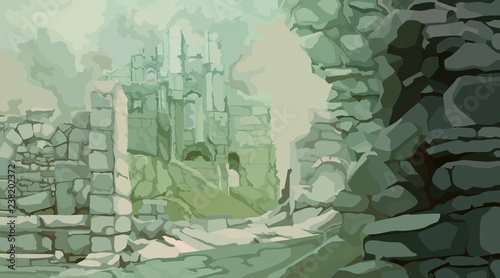 Photo painted medieval stone ruins in a fog of gray green tones
