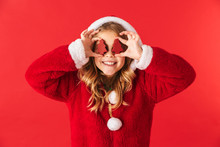 Cute Cheerful Little Girl Wearing Christmas Costume