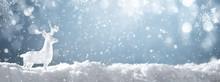 Crystal Glass Deer On Snow