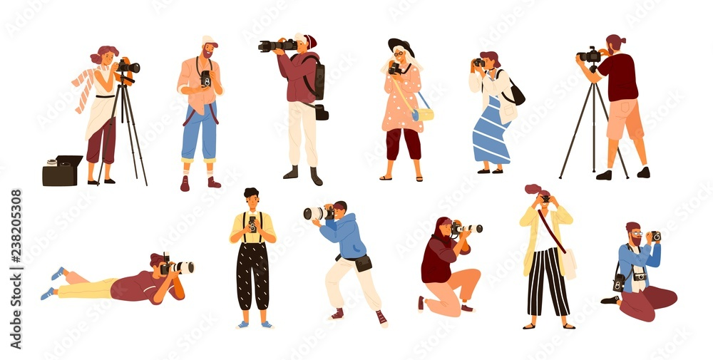Fototapety, obrazy: Set of various photographers holding photo camera and photographing. Creative profession or occupation. Cute female and male cartoon characters take photo shot. Colored vector illustration flat style.