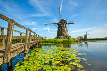 View Of Traditional Windmills In Kinderdijk, The Netherlands.