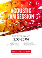 Modern Acoustic Classical Music Poster Flyer. Local Music Festival Announcment, Classical Acoustic Concert Banner Design