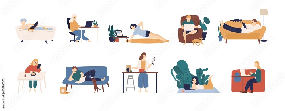 Fototapeta Collection of people surfing internet on their laptop and tablet computers. Set of men and women spending time online isolated on white background. Colorful vector illustration in flat cartoon style.
