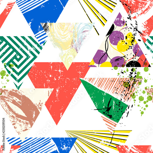 abstract geometric background pattern, with triangles, paint strokes and splashes, seamless