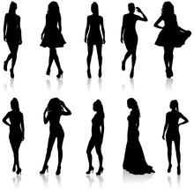 Set Beautiful Fashion Girl Sil...