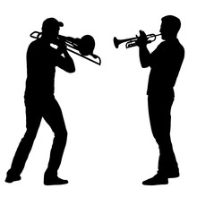 Silhouette Of Musician Playing The Trombone And Trumpet On A White Background