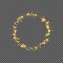Round Frame With Yellow Bokeh Sparkling Glowing Light Effect. Isolated On Transparent Background. Decoration For Christmas Holidays. Vector Illustration.