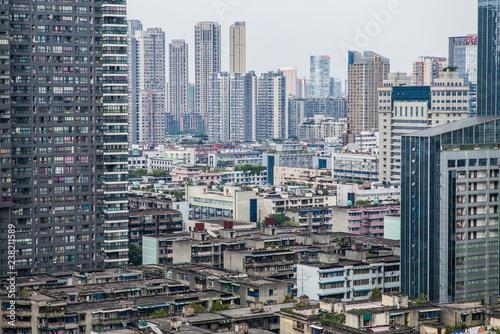 Spoed Foto op Canvas Stad gebouw Chengdu, China - Skyline with plenty of skyscrapers