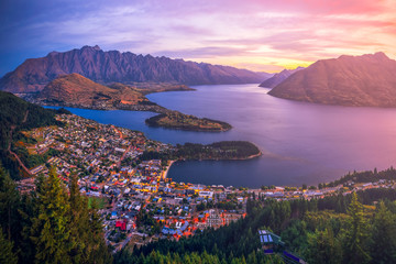 Aerial view of Queenstown downtown at twilight sunset, South Island, New Zealand