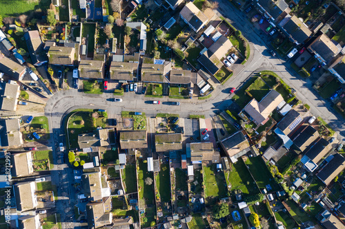 Photo  Aerial view of homes in a suburban setting in England