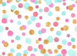 Seamless pattern with colorful pink, blue and gold confetti polka dots painted in watercolor on white isolated background - 238214765