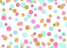 Seamless Pattern With Colorful Pink, Blue And Gold Confetti Polka Dots Painted In Watercolor On White Isolated Background