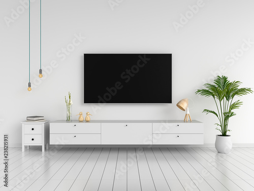 Fotografia, Obraz  Widescreen TV and sideboard in living room, 3D rendering