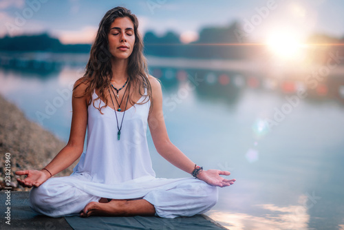 Mindfulness and Meditation. Yoga Woman Detail. Lotus position