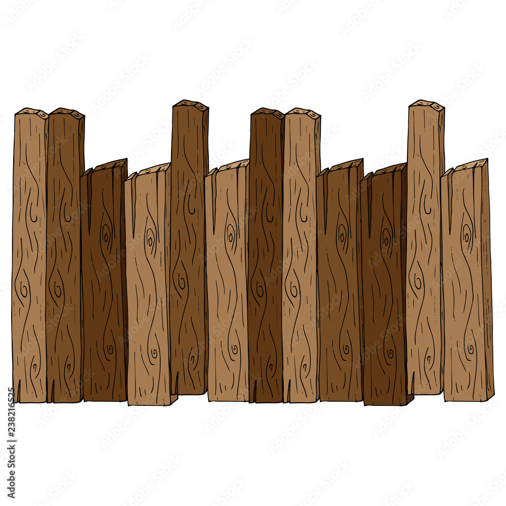 Fototapeta Wooden fence. Vector of a fence made of wooden planks. Hand drawn board of wooden planks.