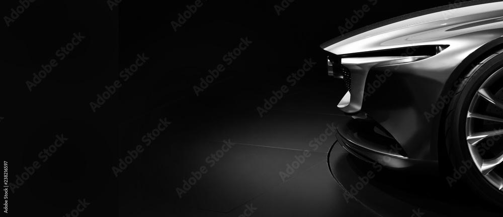 Fototapeta Detail on one of the LED headlights modern car on black background - obraz na płótnie