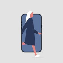 Young Active Female Character Stepping Out Of The Smartphone Screen. Millennial User. Mobile. Technologies. Flat Editable Vector Illustration, Clip Art
