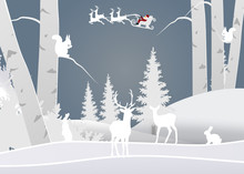 Winter Season And Merry Christmas With The Animal In The Forest, Paper Art And Craft Style.