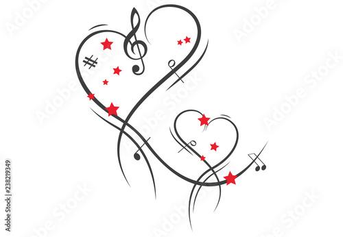 herzen musik notenschlüssel rote sterne stockvektorgrafik