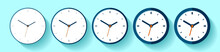 Clock In Flat Style, Icon Set....