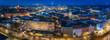 Panorama von Hannovers Innenstadt zur blauen Stunde