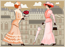 Two Women Walking The Streets Of Paris. Vintage Style.