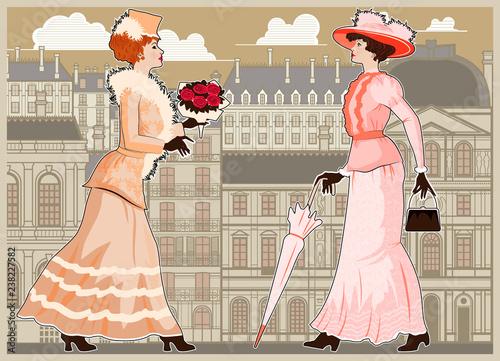 Obraz Two women walking the streets of Paris. Vintage style. - fototapety do salonu