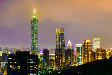 Taipei city skyline and downtown buildings with skyscraper at Twilight time in Taiwan