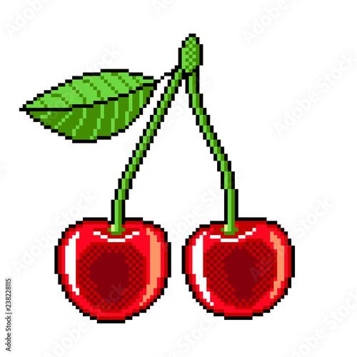 Fototapeta Pixel cherry fruit detailed illustration isolated vector