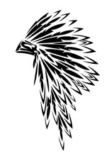 Native American Tribal Chief Traditional Feathered Headdress Black And White Vector Outline Design