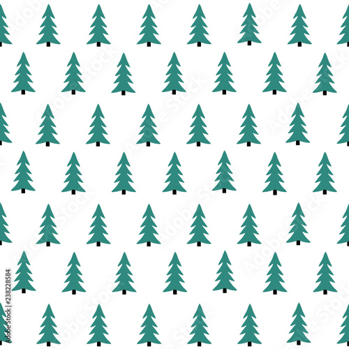 fototapeta na lodówkę Seamless pattern with Christmas tree. Winter forest.